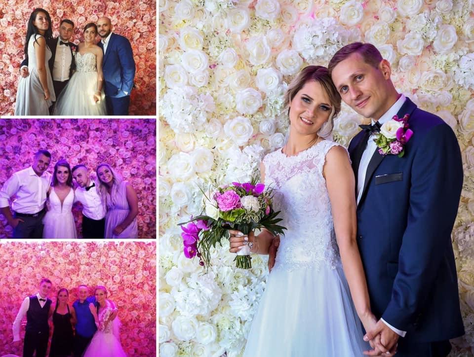 Ścianka kwiatowa na weselu w restauracji The Piano w Bytomiu.